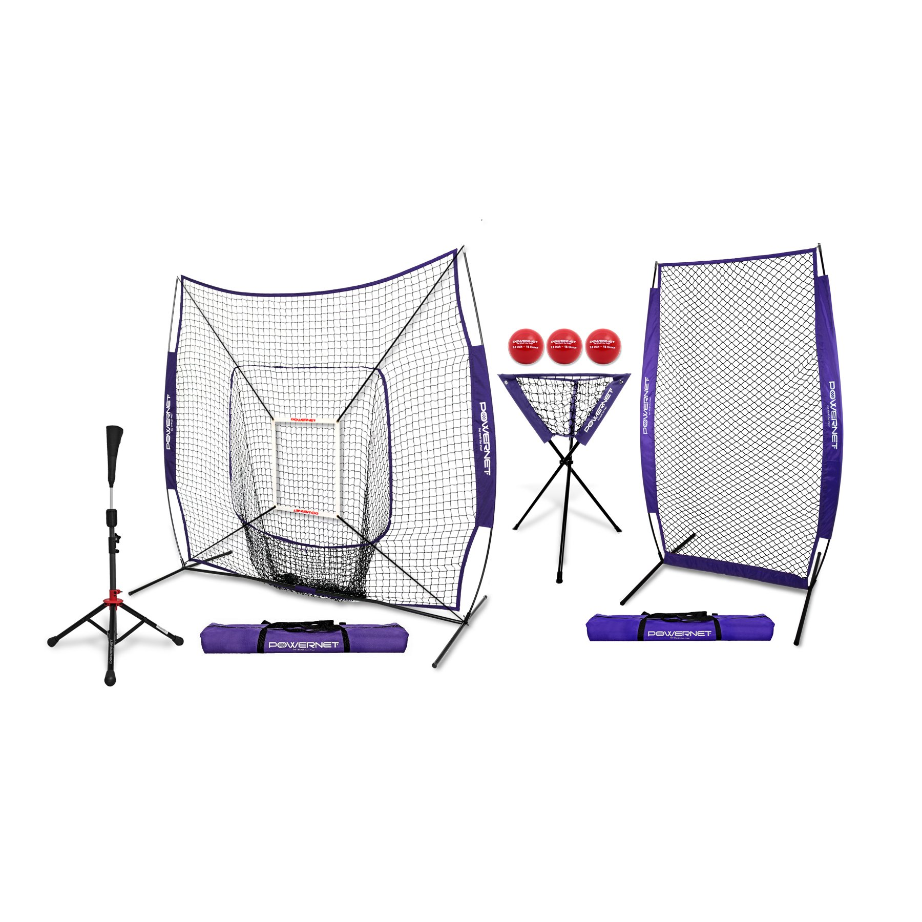 PowerNet [All in ONE Coach Bundle (Purple) 7x7 DLX Practice Net + I-Screen + Deluxe Tee + Ball Caddy + 3 Pack Weighted Training Ball + Strike Zone Bundle | Baseball Softball Pitching Batting by PowerNet