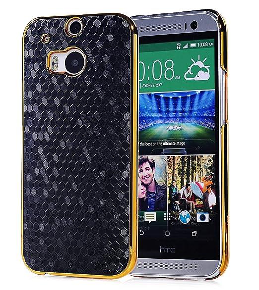 on sale 96023 11e2f HTC One M8 Case, Vfunn Elegant Golden Plating Hard Back Case Cover for HTC  One M8 (Black)