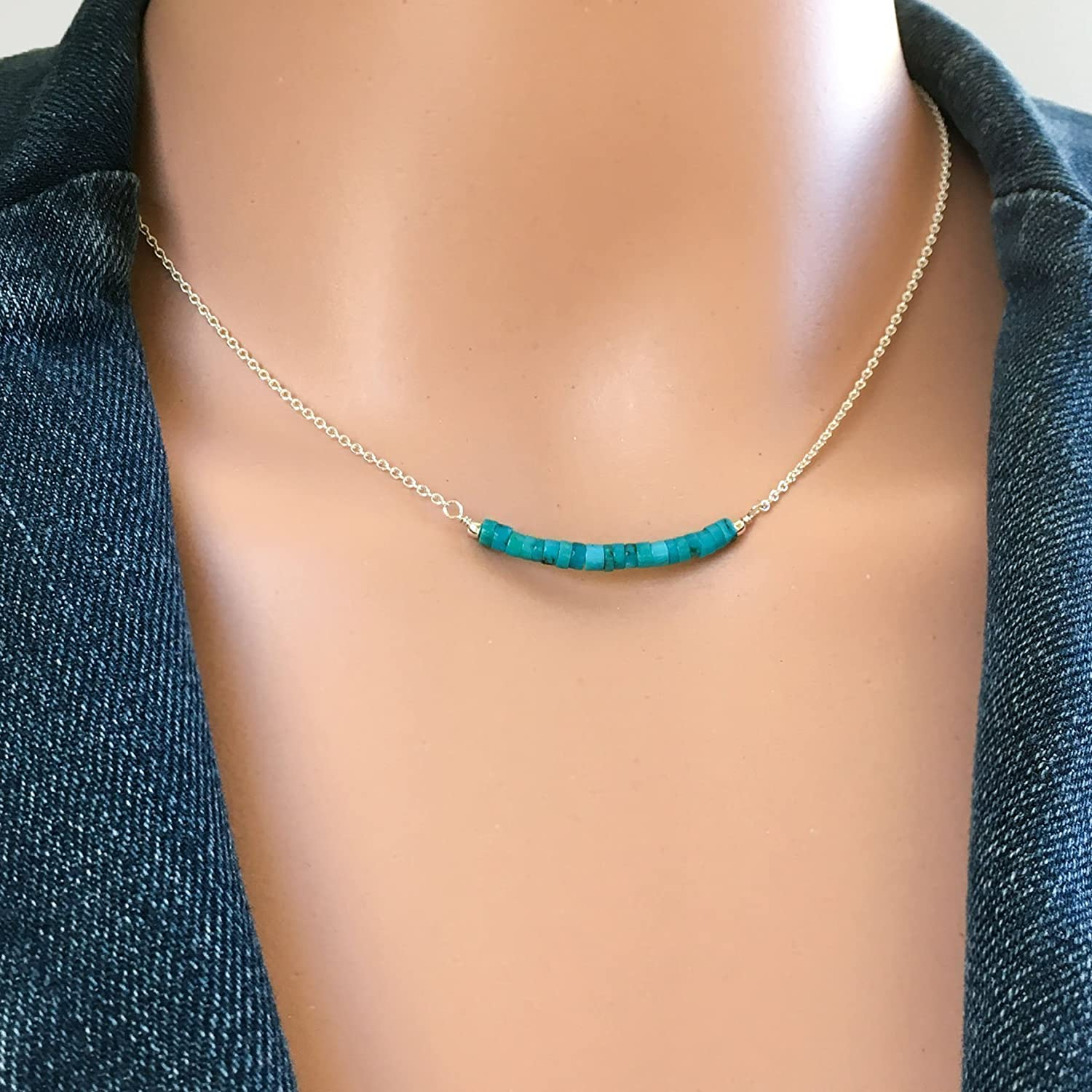 Tiny Turquoise Necklace, Sterling Silver Turquoise Bar Necklace