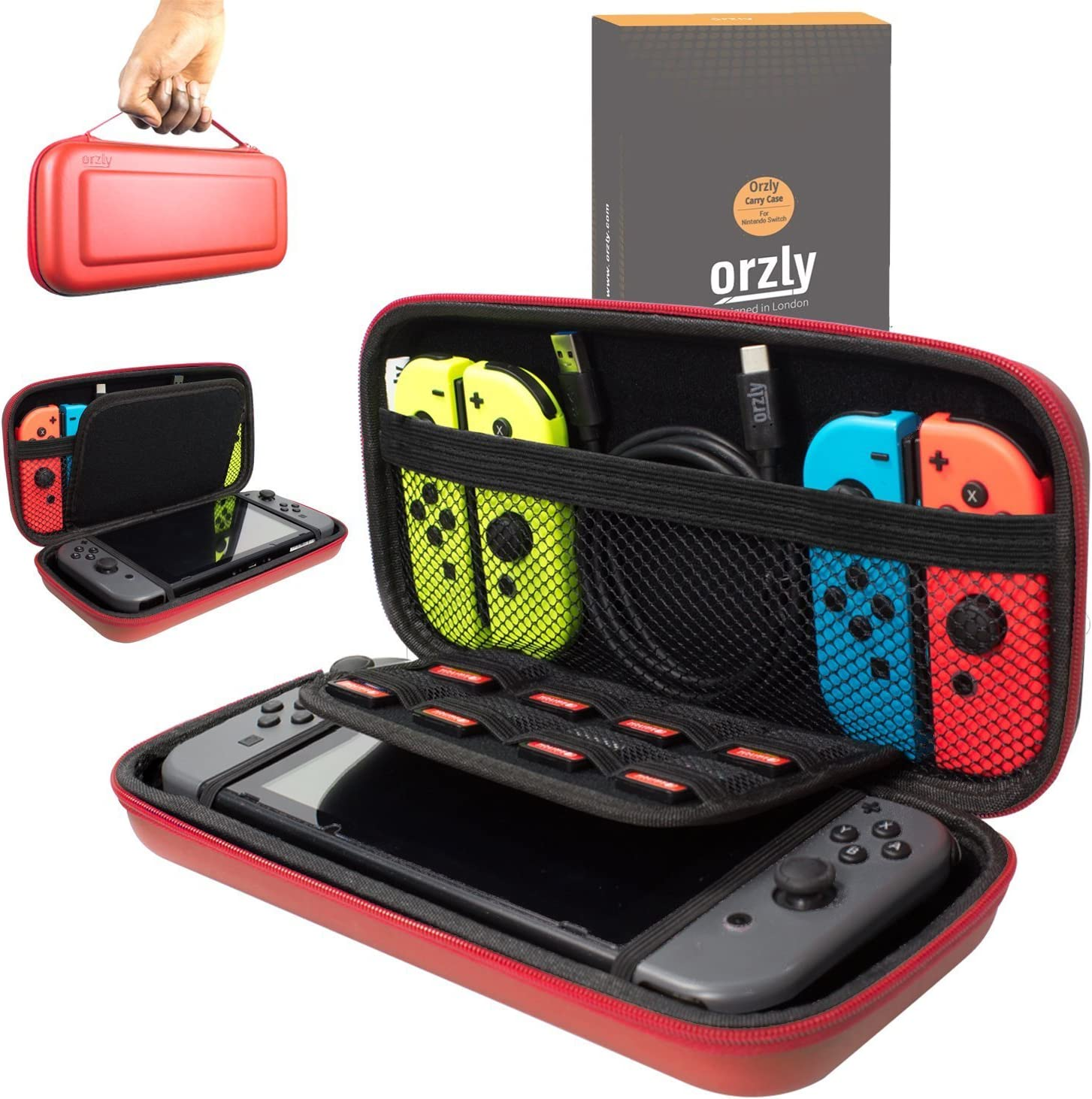 Orzly Carry Case Compatible With Nintendo Switch   Red Protective Hard Portable Travel Carry Case Shell Pouch For Nintendo Switch Console & Accessories by Orzly