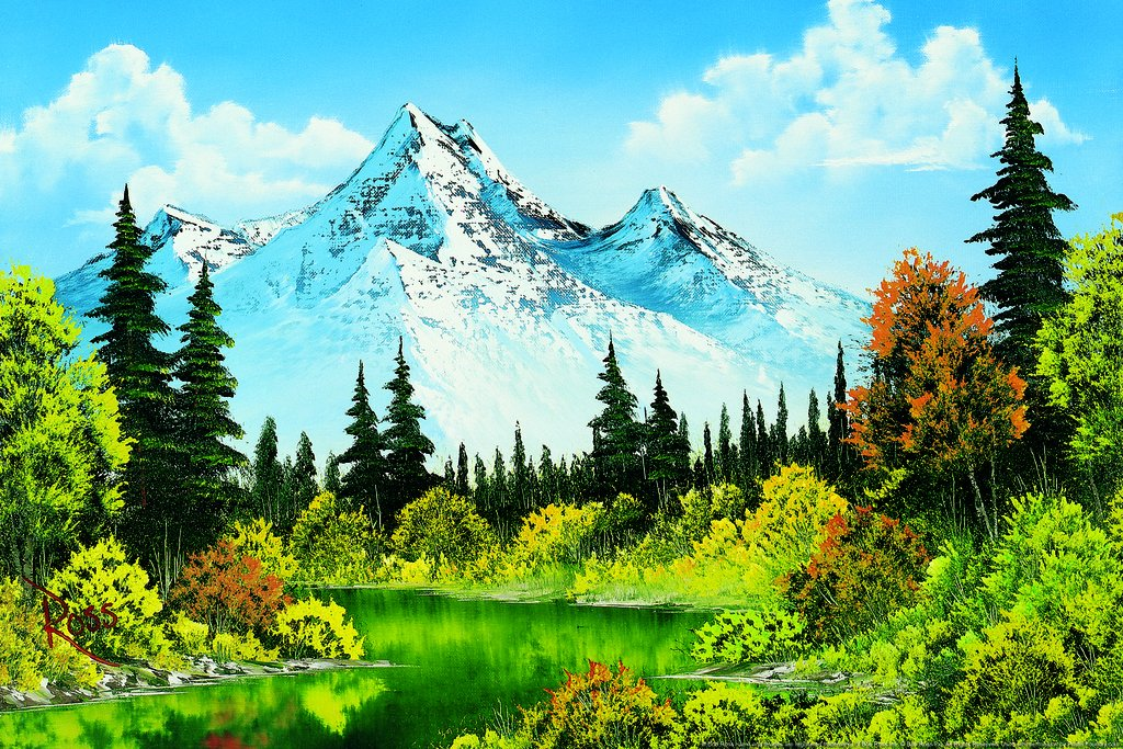 Poster Foundry Bob Ross Meadow Lake Art Print Painting Matted Framed Wall Art 20x26 inch