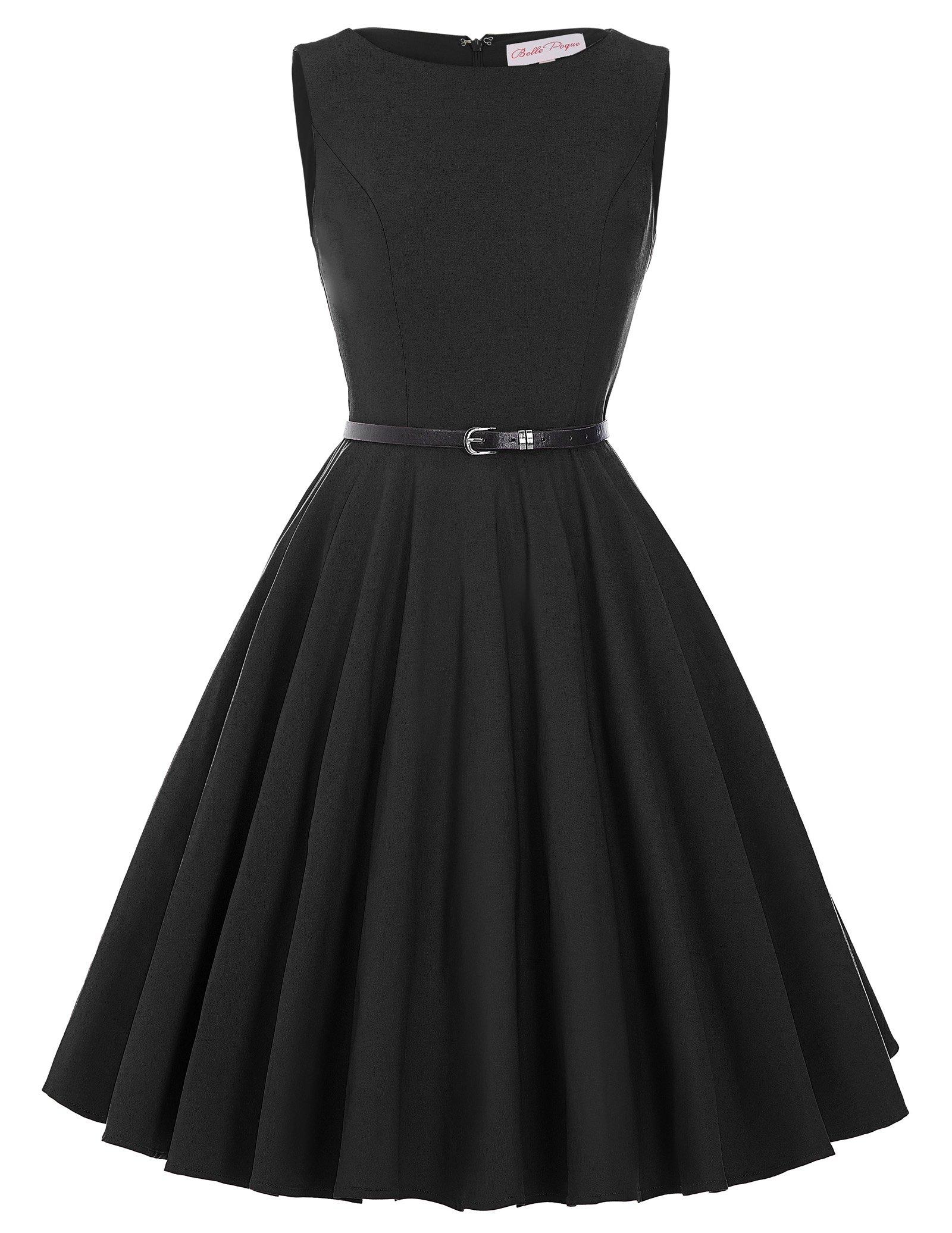 Sleeveless Cocktail Swing Dress Vintage Style BP157-1,,Black,X-Large