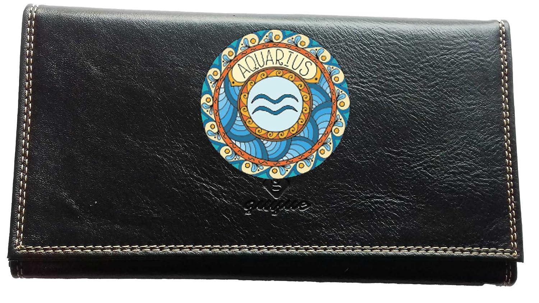 Porte ché quier porte carte, en cuir noir Signe Zodiaque Astrologique Verseau chequiernoir-verseau