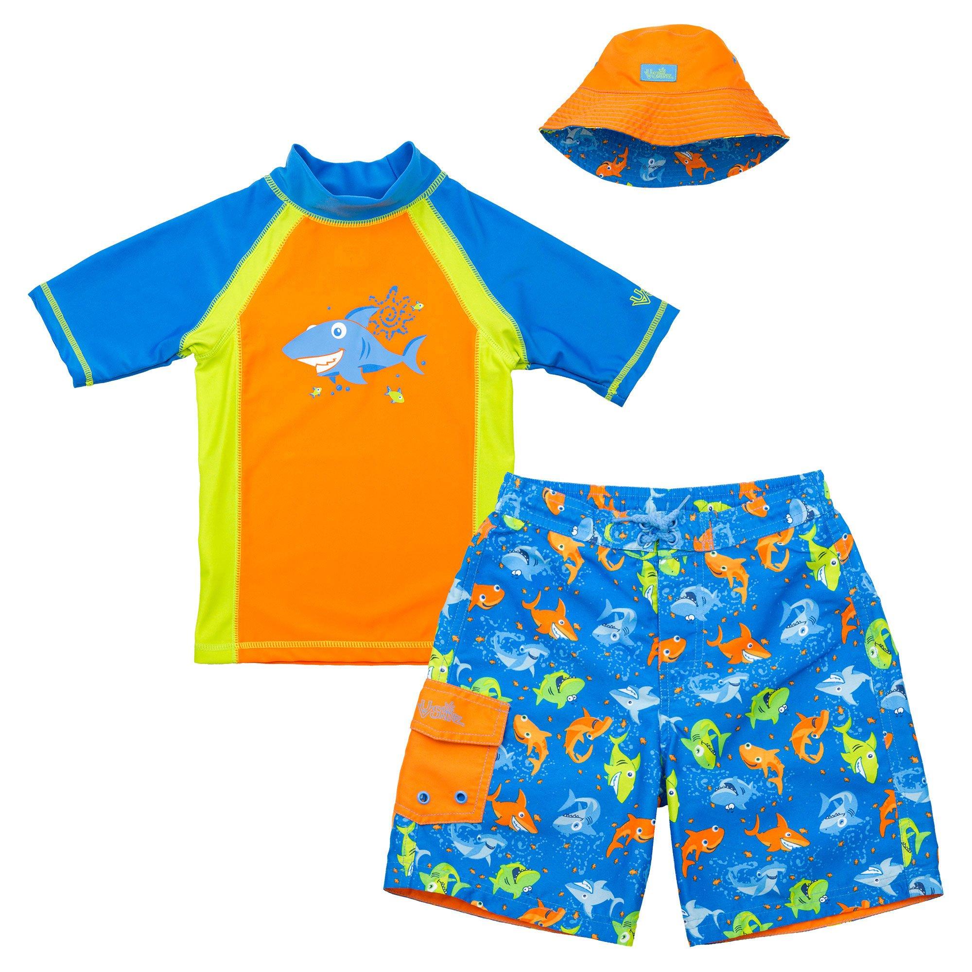Uv Skinz Boys' 3-piece Swim Set, 5, Orange Happy