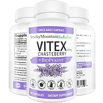 Vitex Chasteberry Supplement 600mg 90 Capsules (3 Month Supply) Plus  BioPerine  for Fertility,