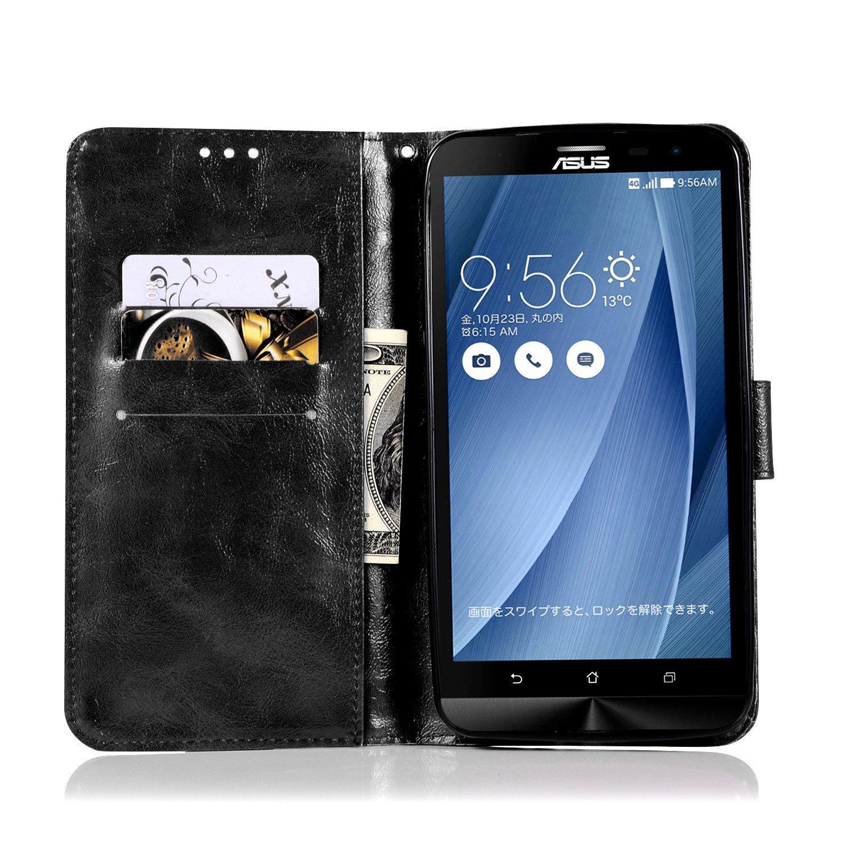 Chreey Mat R/étro Antichoc Housse /Étui en Cuir /à Rabat avec Portefeuille et Porte-Cartes Coque Asus Zenfone 2 Laser ZE601KL bleu