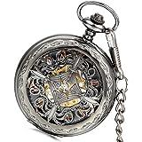 Lancardo Orologio da tasca per uomo in movimento meccanico con quadrante numeri romani, caso in oro, Knot Hollow cinese