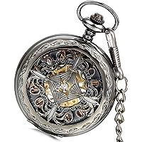 Lancardo Reloj de bolsillo con movimiento mecánico de color negro y esfera hueca en tono dorado