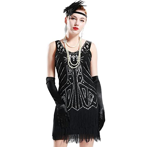 BABEYOND 1920s Flapper Dress Fringed Gatsby Dress V Neck for Women