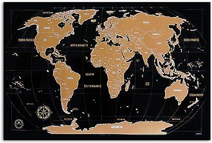 Cartina Mondo Ingrandita.Mappa Del Mondo Da Grattare Kronewerk Inglese O Tedesco Regalo Creativo Per Viaggiatori Frequenti Inclusa Un Elegante Scatola Cilindrica Poster Xxl Amazon It Casa E Cucina