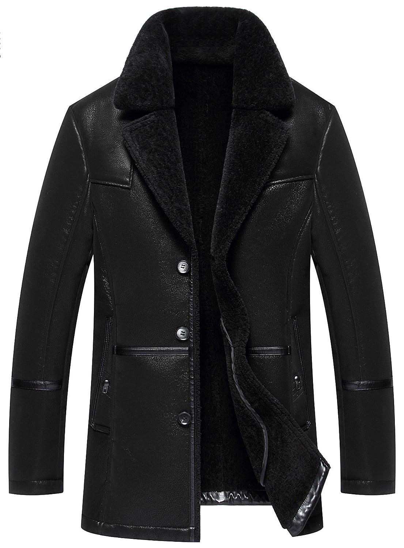 moxishop Men's Blazer Lapel Sheepskin Leather Fur Coat Warm Winter Trench Parka Lambswool Lined Duffle Coat