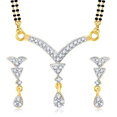 VK Jewels Gold And Rhodium Plated Alloy Mangalsutra set with Earrings for Women made with Cubic Zirconia-MP1040G [VKMP1040G] Tanmaniyas at amazon