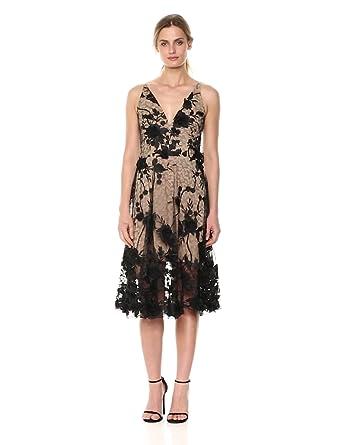 975bbe82 Dress the Population Women's Audrey Spaghetti Strap MIDI A-LINE 3D Floral  Dress, Black