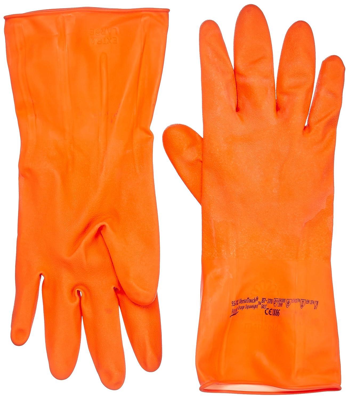 Gr/ö/ße 6.5 12 Paar pro Beutel Chemikalien- und Fl/üssigkeitsschutz Ansell VersaTouch 87-370 Naturgummilatex Handschuh Orang