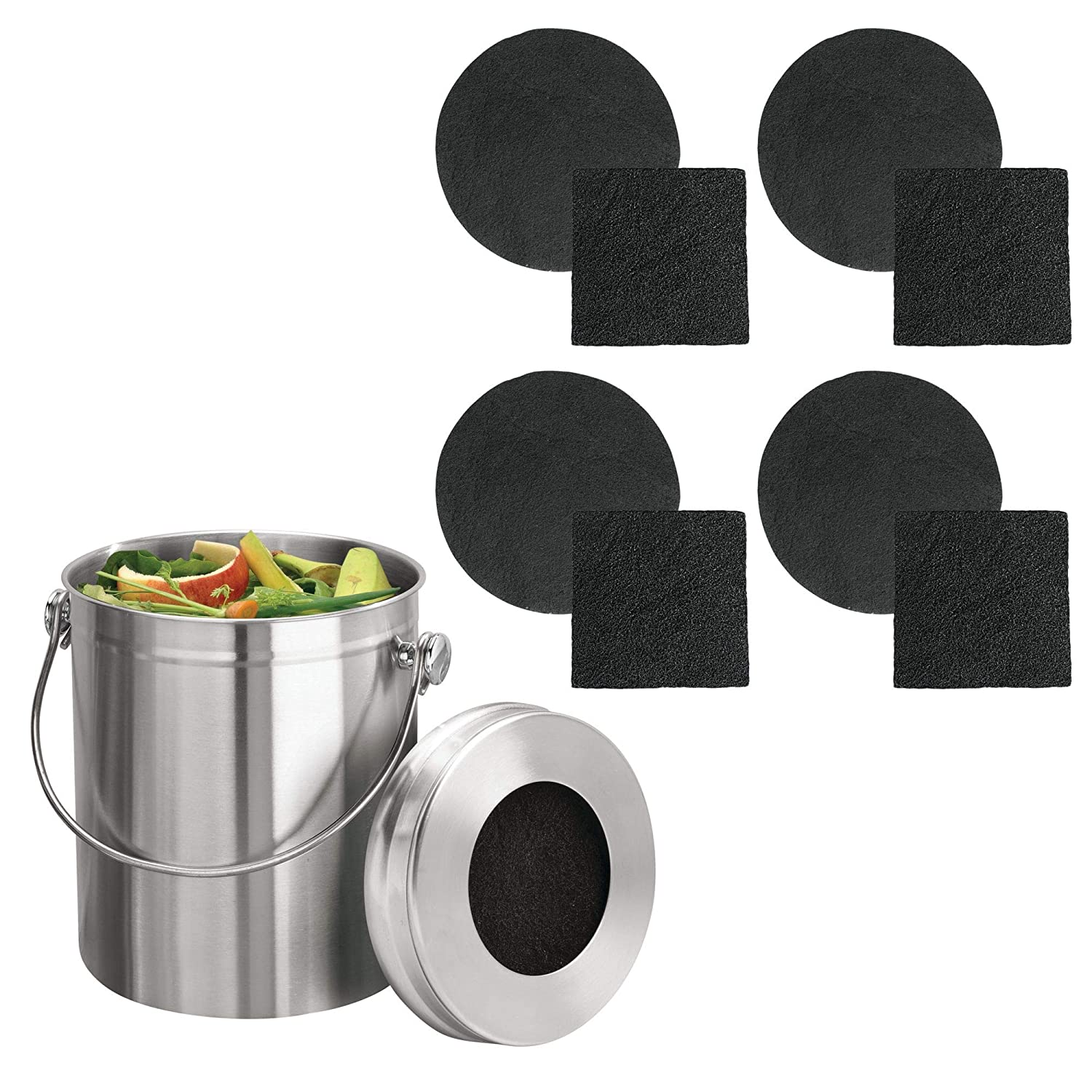 mDesign Stainless Steel Compost Pail Bin with Handle for Kitchen Countertops and Under Sink � 1.3 Gallon Capacity � Double Filtration System � Charcoal Filters Included - Brushed Stainless Steel MetroDecor