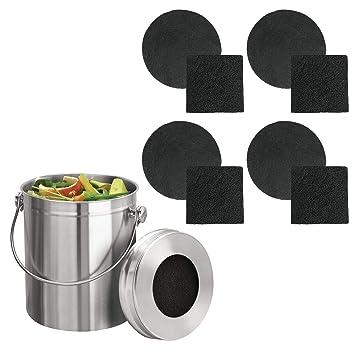 mDesign Compostadora redonda con tapa – Cubo de basura de cocina para hacer compost – Con