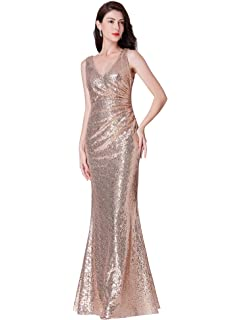 Ever Pretty Womens V Neck Floor Length Sleeveless Sequin Long Formal Evening Dresses 07405
