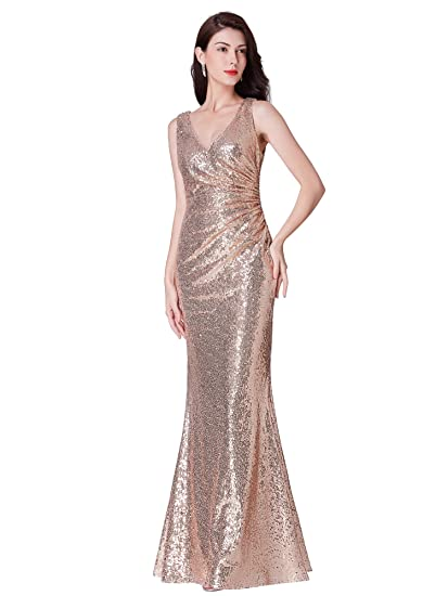 135e72c8b3f Ever Pretty Women s V Neck Long Formal Sequin Wedding-Guest Party Dress  Rose Gold 8UK