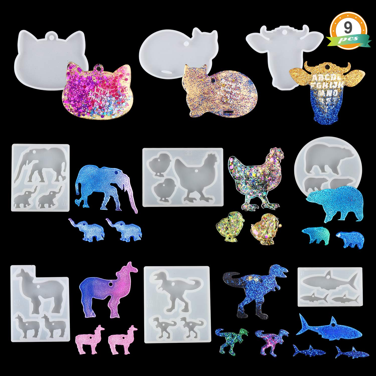 Let S Resin Animal Keychain Silicone Molds 9pcs Shiny Resin Molds Keychain Molds For Epoxy With Bear Llama Cat Hen Dinosaur Shark Elephant Bull Head Shape Amazon In Home Kitchen
