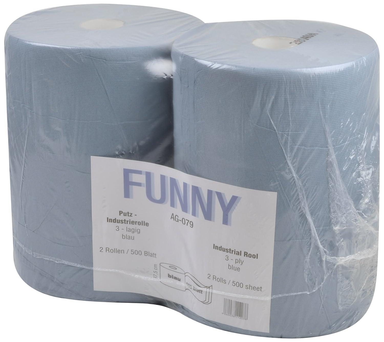 Pack de 2 rollos de papel industrial color azul Funny AG-079 3 capas 37.5 x 34 cm 1000 hojas