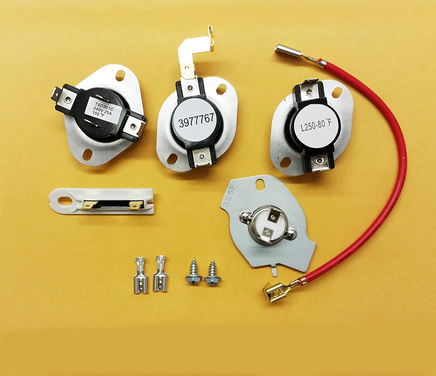 PARTS 3977767 3392519 3387134 279816 KENMORE SEARS CLOTHES DRYER THERMOSTAT KIT