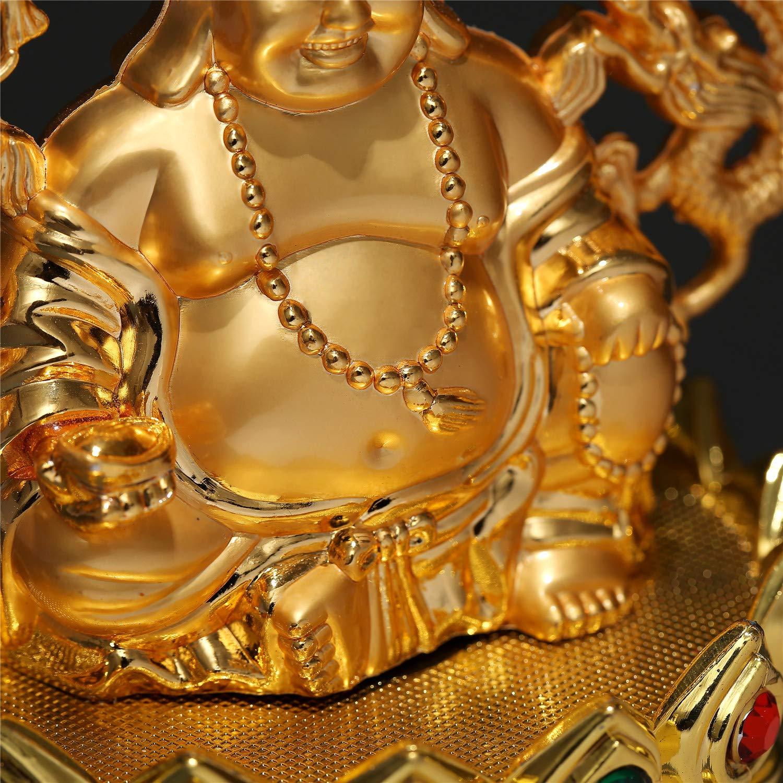 Prime Feng Shui Figurine de Bouddha Rieur dor/é sur Le tr/ône de Lotus D/écoration de Voiture Maitreya D/écoration de Maison Bureau Bless S/écurit/é et Richesse