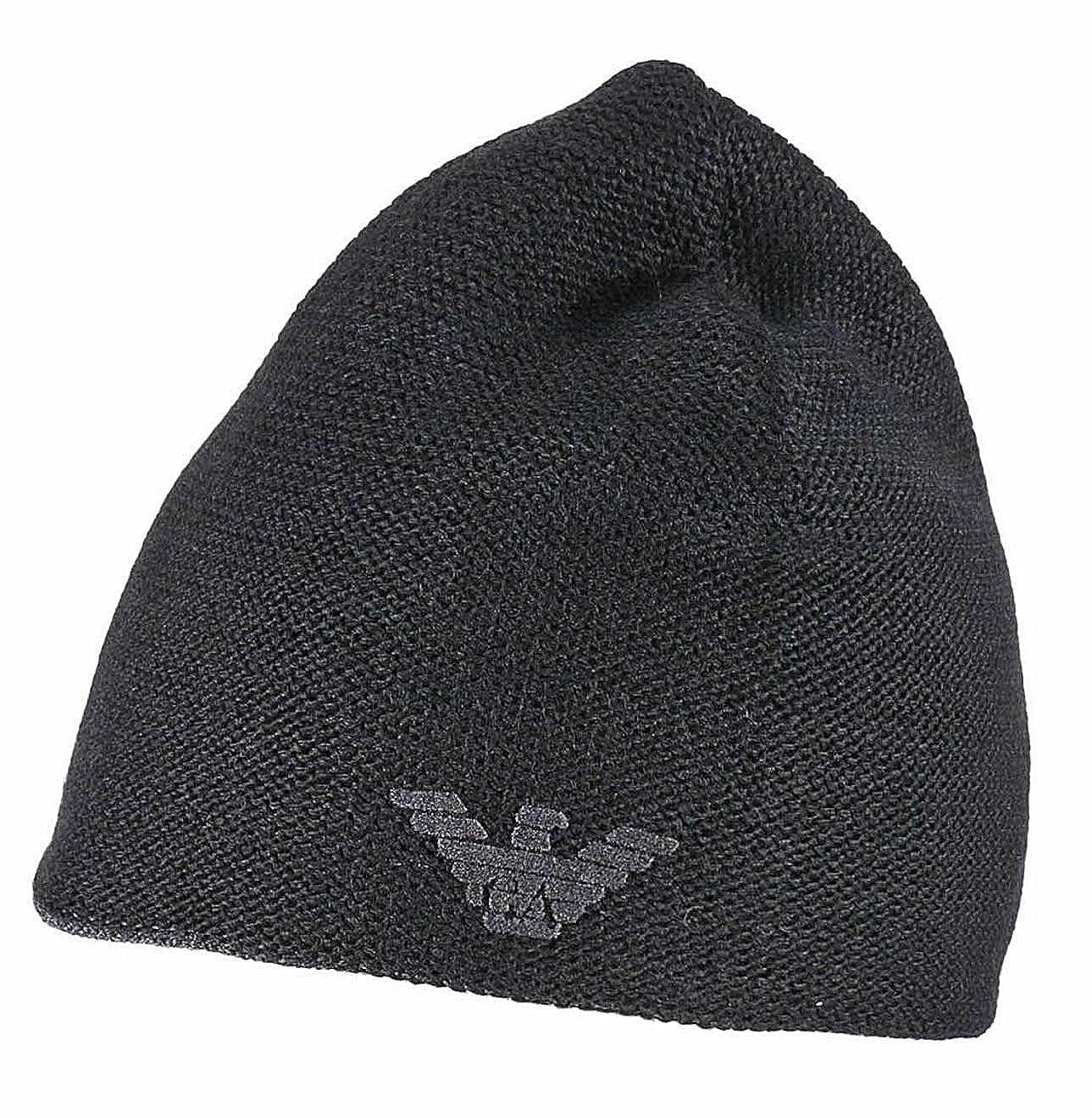b045e0e7eb1 Emporio Armani 627815 Mens Reversible Wool Mix Beanie (Black) at Amazon  Men s Clothing store
