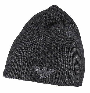 dce1b01294b Emporio Armani 627815 Mens Reversible Wool Mix Beanie (Black) at ...