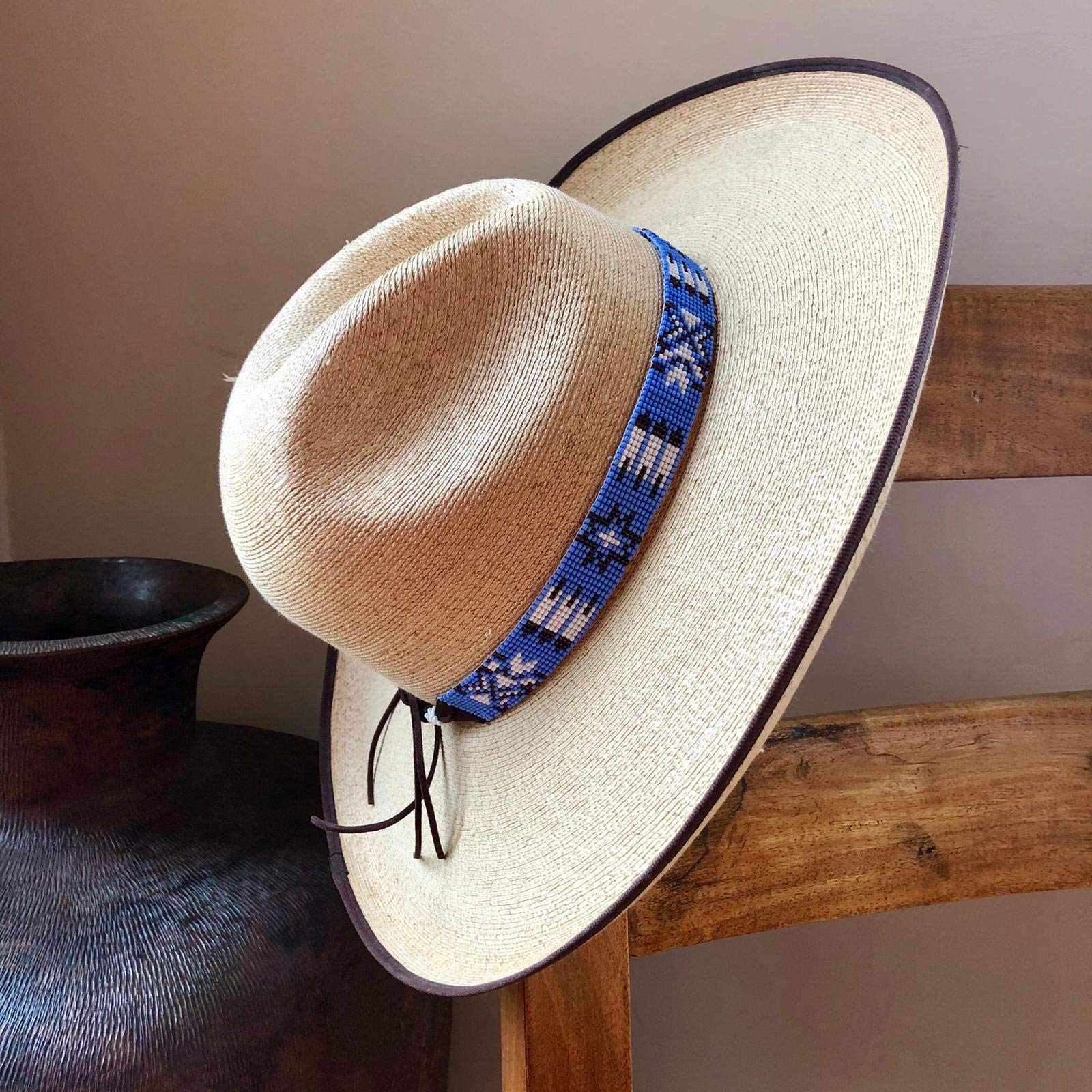 Mayan Arts Hat Band, Hatbands for Men and Women, Leather Straps, Cowboy Beaded Bands, White, Blue Paisley, Handmade in Guatemala 7/8'' X 21'' by Mayan Arts (Image #3)