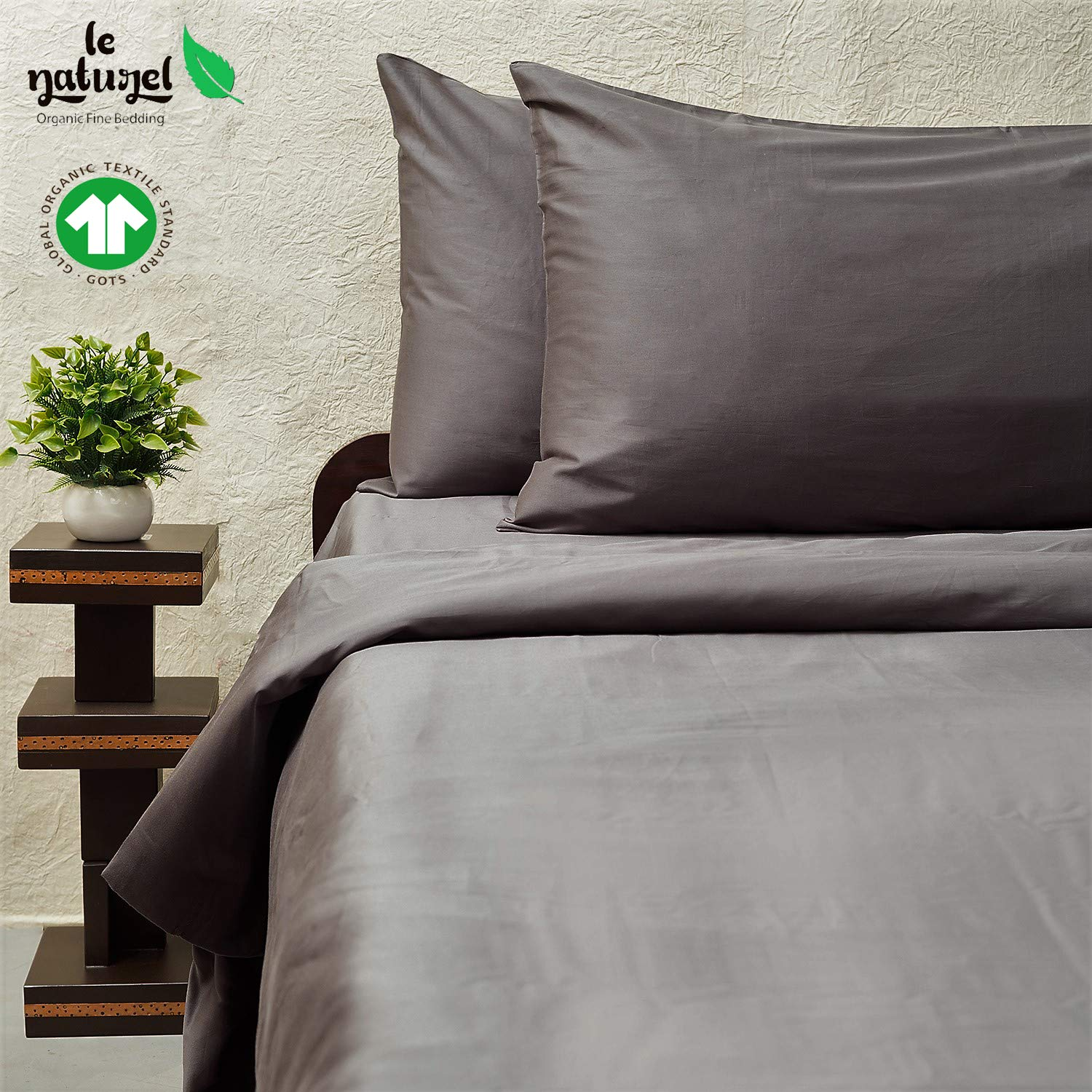 Le Naturel 300 Thread Count 100% GOTS Certified Organic Cotton Duvet Cover Full and Queen Size (Dark Gray) Bedding Super Soft Sateen Weave,3 Way Protection, Premium Collection by Le Naturel
