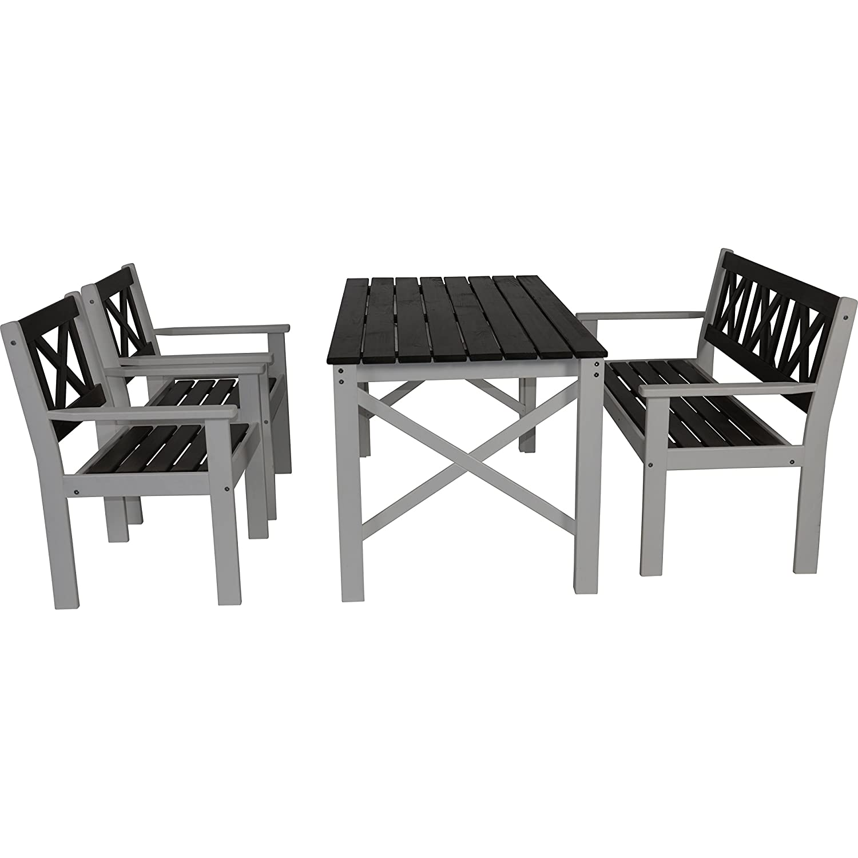 Gartenmöbel Set Tisch Bank 2 Stühle Kiefer grau/weiß lackiert 150/59/129 cm