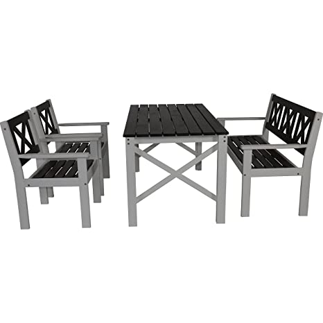 Salon de jardin table banc 2 chaises Pin gris/blanc laqué ...