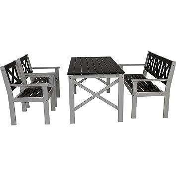 Salon de jardin table banc 2 chaises Pin gris/blanc laqué 150/59/129 ...