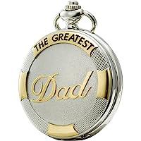 SEWOR regalo del día del padre Collar Reloj de bolsillo de cuarzo Shell Dial de Oro & astilla Funda de piel (+ Metal) (Papá)