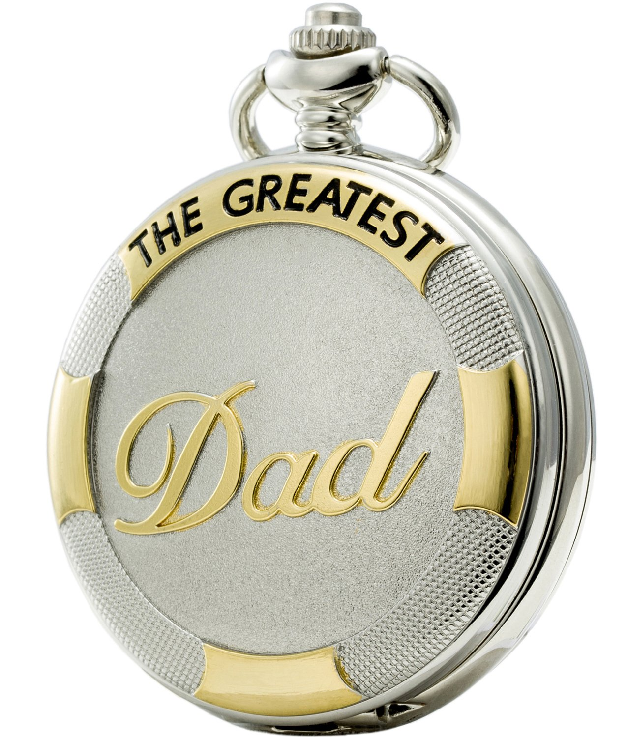 SEWOR Father\'s Day Quartz Pocket Watch Shell Dial Gold & Sliver Case Family Xmas Gift (DAD)