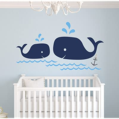 Whale Family Nautical Mom and Baby Wall Decal - Nursery Wall Decals - Nautical Nursery Decor Vinyl Sticker: Baby