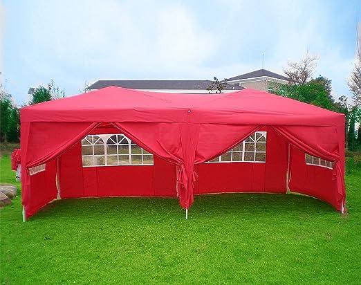 Qulista Carpa Pabellón Plegable 3x3 / 3x6 / 2.5x2.5 / 3x3M Tienda de campaña Impermeable Cenador Gazebo con Ventanas para Fiestas Tiendas Eventos Boda o Picnic (Pabellón: 3 x 6 x 3.3 M, Rojo): Amazon.es: Jardín