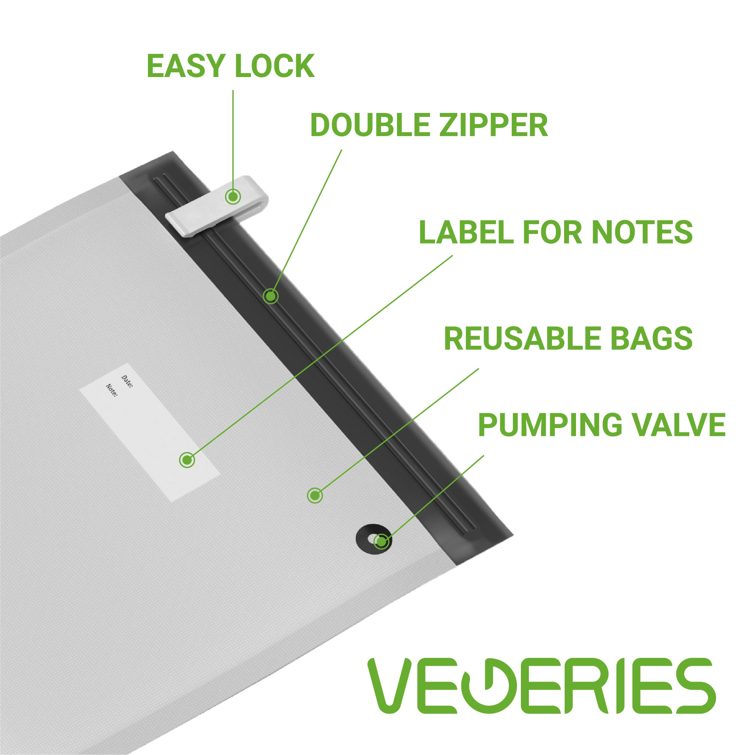 Sous Vide Bags 30 Reusable Vacuum Food Storage Bags for Anova and Joule Cookers - 3 sizes Sous Vide Bag Kit with Pump - 4 Sealing Clips - 4 Sous Vide Bag Clips for Food Storage and Sous Vide Cooking by VEGERIES (Image #6)