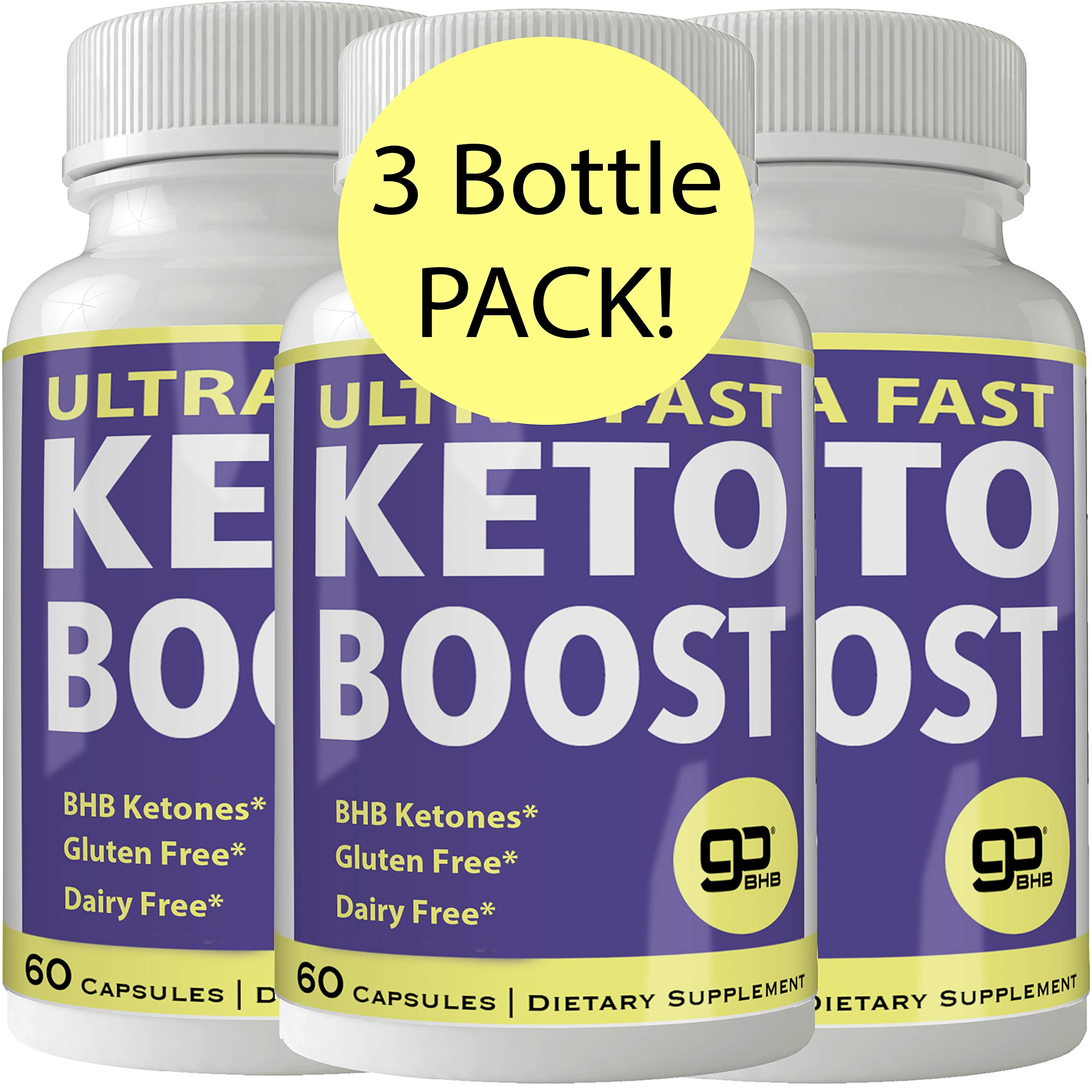 Ultra Fast Keto Boost Weight Loss Pills with Advanced Natural Ketogenic BHB Burn Fat Supplement Formula 800MG Capsules (3 Bottles) by nutra4health LLC