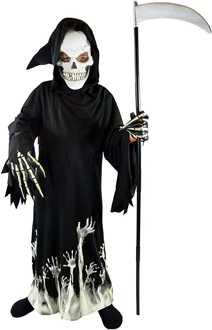 Gotop Halloween Costume for Boys Grim Reaper Printed Ghost Robe Phantom Costume
