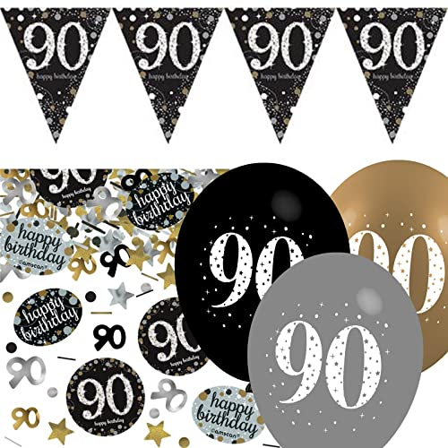 Black Silver Gold 90th Birthday Celebration Party Flag Banner Decoration Pack Kit Set