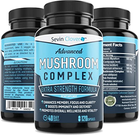 Organic Lions Mane Mushroom Capsules - Choq - Cordyceps   120 Capsules 16mg - Immune System Booster - Promotes Mental Clarity, Daily Supplement - Wellness Formula for Natural Energy & Stress Relief