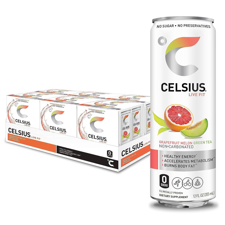 CELSIUS Grapefruit Melon Green Tea Non-Carbonated Fitness Drink, Zero Sugar, Slim Can 4-Packs, 12 Fl Oz (Pack of 24)