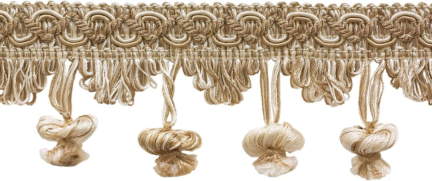 4001 D/ÉCOPRO Ivory Sold by The Yard Light Beige 2 inch Imperial II Onion Tassel Fringe Style# NT2503 Color: White Sands