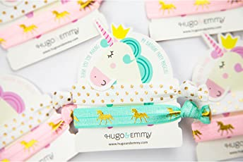Hugo & Emmy Unicorn Hair Ties 8 Pack (16 Elastic Bands) – Bulk Party Favors, Supplies, Prizes – for Girls, Toddlers, Tweens and Kids Birthday Parties - Hair Tie Holder Gift Card - Bracelet, Anklet