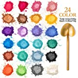 Sumille Mica Powder 24 Colors 240g Cosmetic Grade Mica Powder Natural Mica Mineral Powder Pearl Dyes for Epoxy Resin, Bath Bomb, Soap, Candle, Slime Coloring, Makeup and Nail Art, Colorful Non-Toxic
