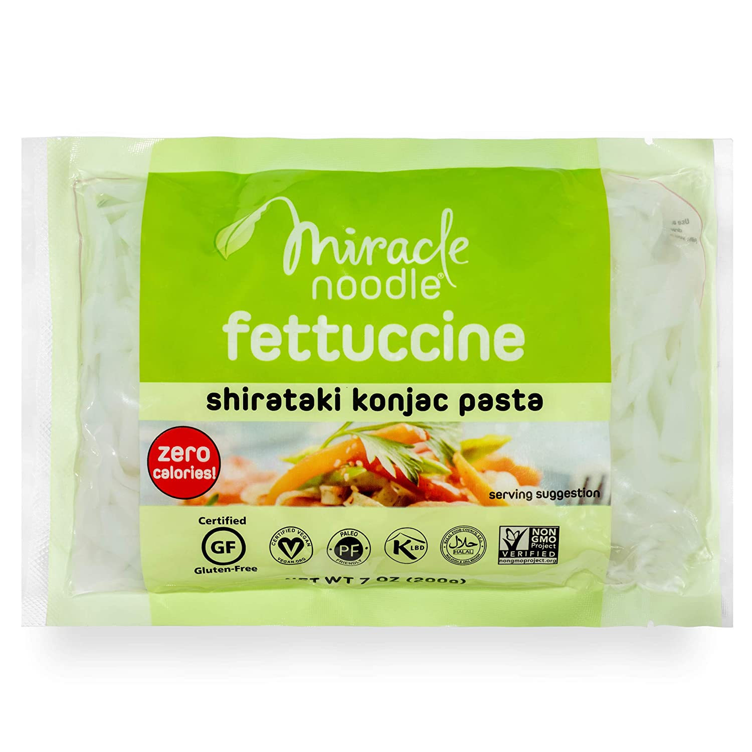 Miracle Noodle Shirataki Konjac Fettuccine Pasta, 7 oz (Pack of 6), Zero Carbs, Zero Calories, Gluten Free, Soy Free, Keto Friendly