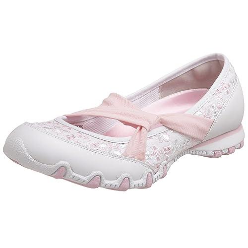 Skechers Ballerine Donna estive Bianche con Laccio Elastico ...