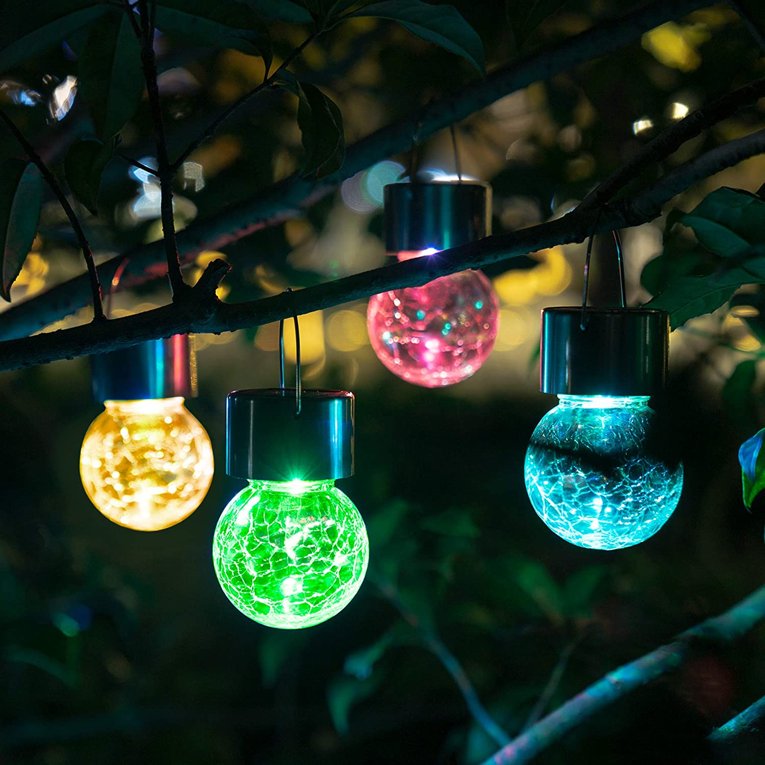 Solpex Hanging Solar Lights Outdoor,8 Pack Christmas Decorative Cracked Glass Ball Light, Solar Powered Waterproof Globe Lighting, Hanging Globe Solar Lights for Garden, Yard, Patio, Lawn, Flower Bed