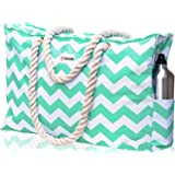 SHYLERO Beach Bag XXL. Waterproof (IP64). L22 xH15 xW6 w Cotton Rope Handles, Top Zipper, Outside Pockets. Beach Tote Includes Waterproof Phone Case, Built-in Key Holder, Bottle Opener, womens, Turquoise Green, Extra Large
